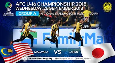 Live Streaming Malaysia vs Japan AFC U16 26.9.2018