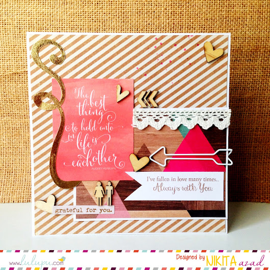 Lulupu - The Craft Lounge: Wood Veneer Hearts & Arrows Card