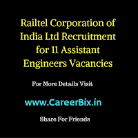 Railtel Corporation of India Ltd Recruitment for 11 Assistant Engineers Vacancies