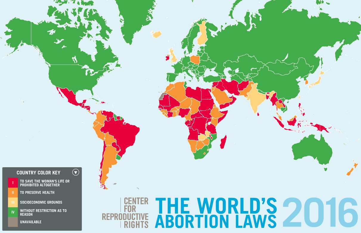The World's abortion laws (2016)