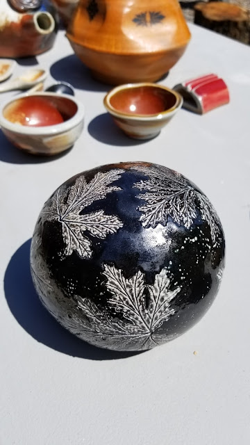 Soda fired leaf imprint pottery by Lily L.