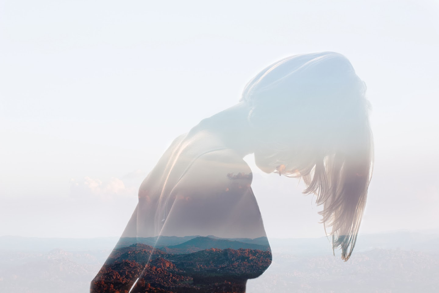Double and multiple exposure in photography, Insideout Project, Wanderlust, double exposure girl with mountains inside