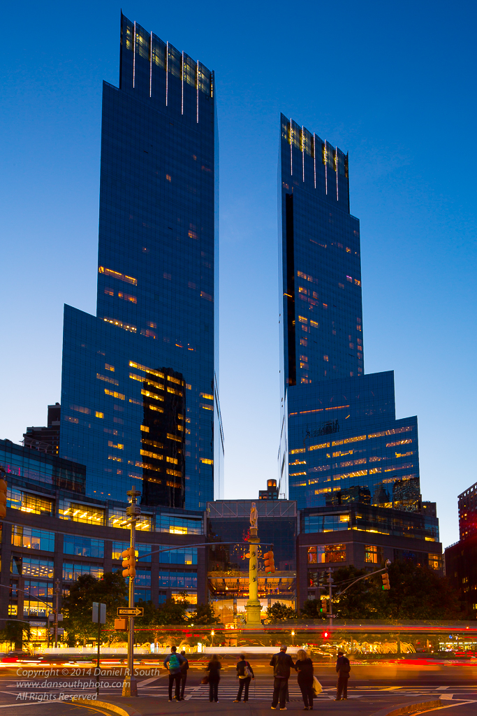 a photo of columbus circle at dusk new york by daniel south