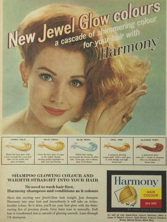 60s ad for Harmony semi permanent hair colourant