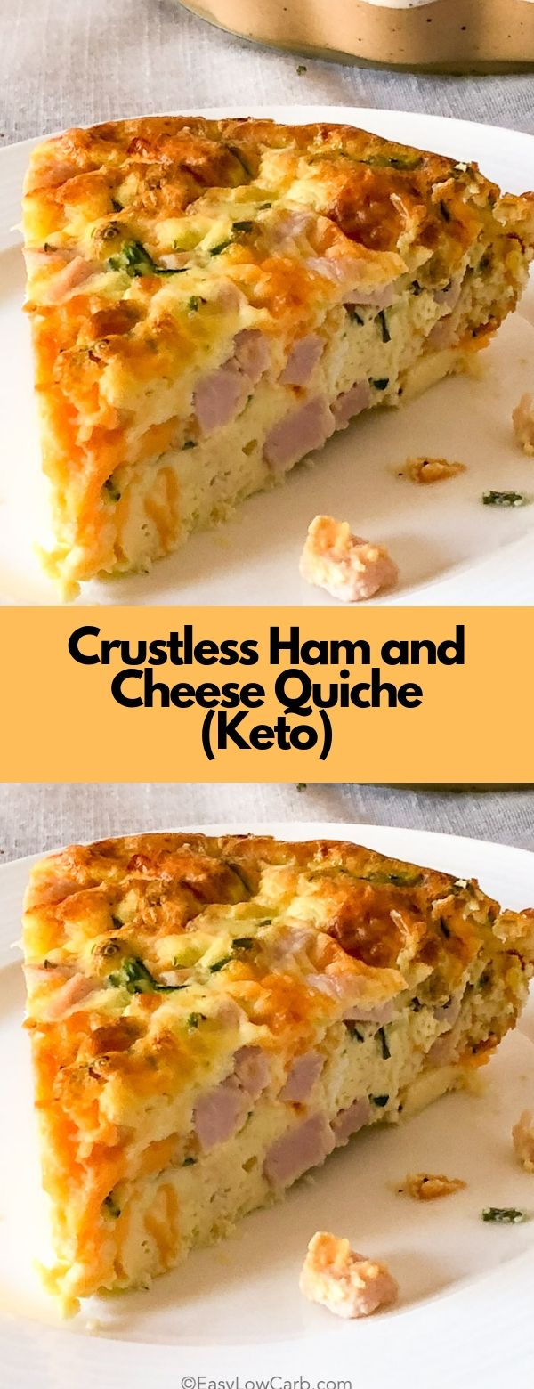 Crustless Ham and Cheese Quiche (Keto) #breakfast #dinner #lunch