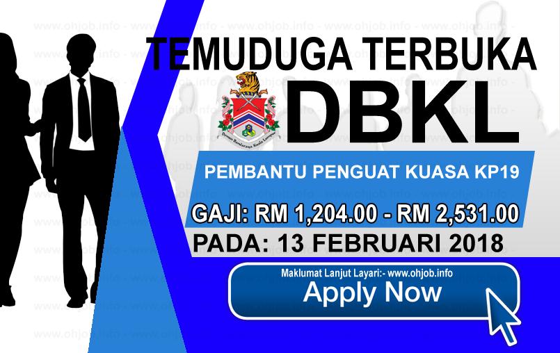 Jawatan Kerja Kosong Dewan Bandaraya Kuala Lumpur - DBKL logo www.ohjob.info februari 2018