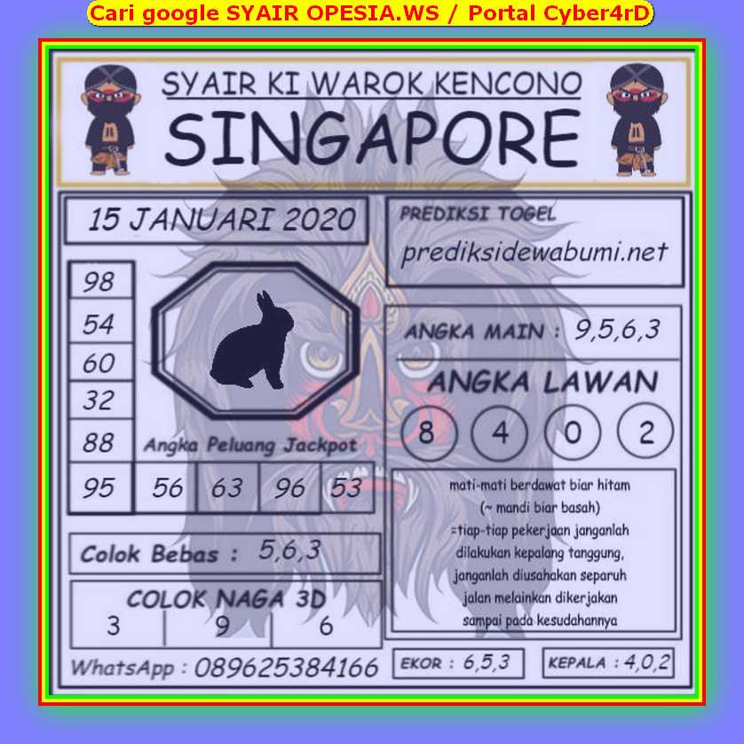 Kode syair Singapore Rabu 15 Januari 2020 113