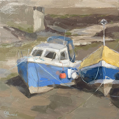 #141 'Boats on The Beck, Staithes' 8×8″