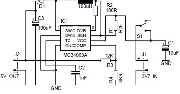 Circuit Diagram 5V Power Bank with 3.7V Input using