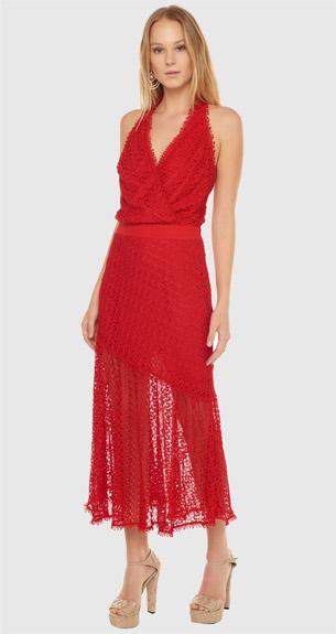 BO.BÔ look de festa vestido vermelho frente única