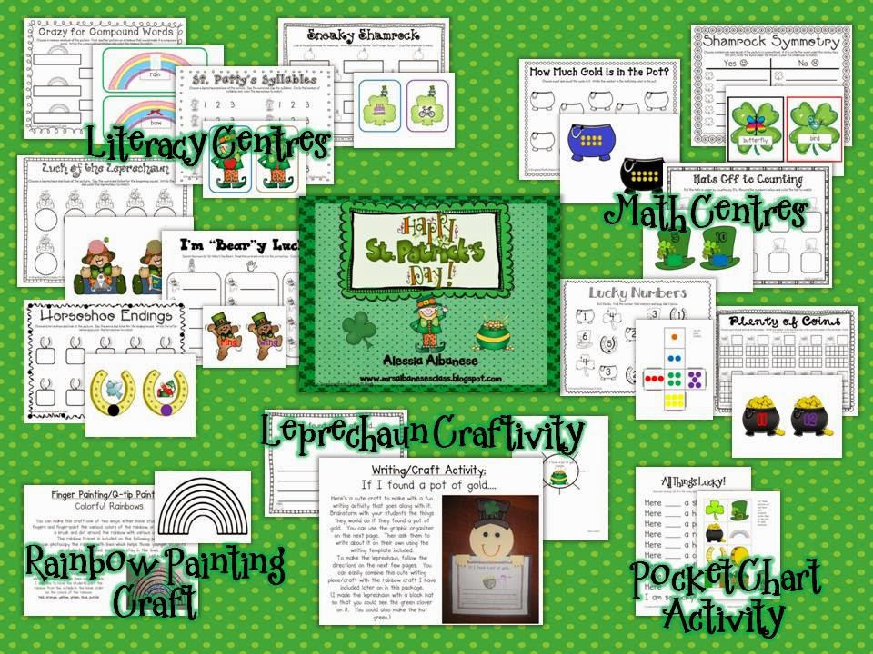 http://www.teacherspayteachers.com/Product/Happy-St-Patricks-Day-Literacy-and-Math-Activities-535790