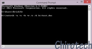 hide file using attrib command