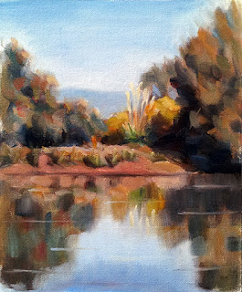 Oil painting looking across a small body of water with trees and shrubs on the far bank.