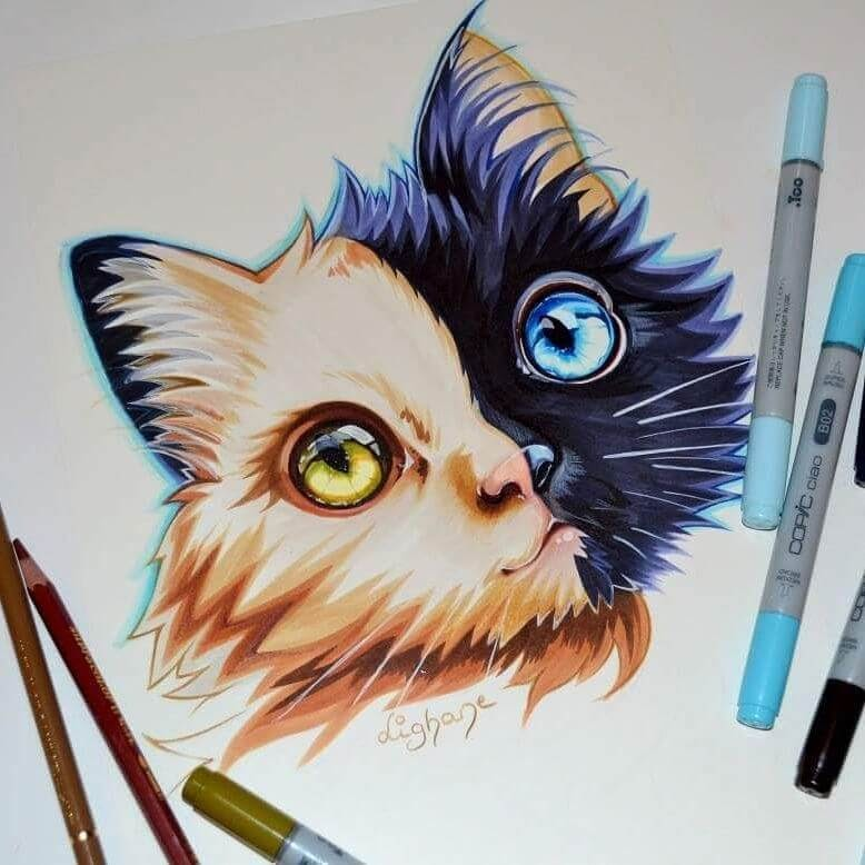12-Chimera-Cat-Lisa-Saukel-lighane-Cute-Colored-Fantasy-Animal-Drawings-www-designstack-co