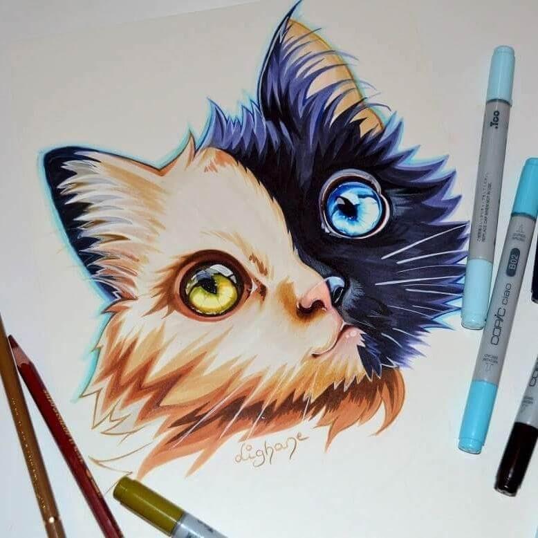 12-Chimera-Cat-Lisa-Saukel-lighane-Cute-Colored-Fantasy-Animal-Drawings-www-designstack-co