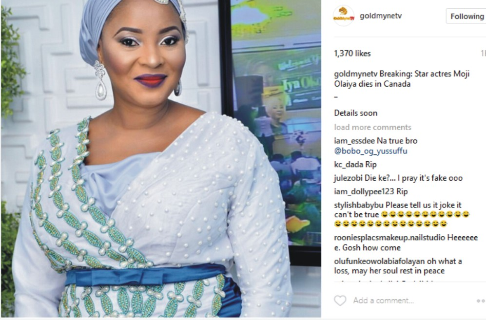 Breaking News: Another Nollywood Actress, Moji Olaiya Is Dead