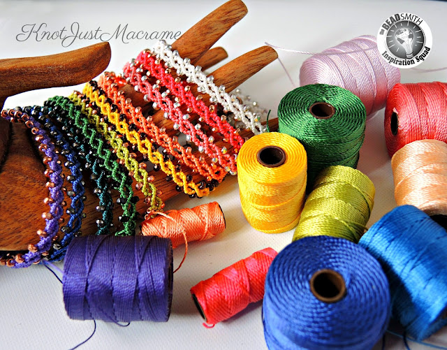 Micro Macrame bracelets and s-lon cord in a rainbow of colors.