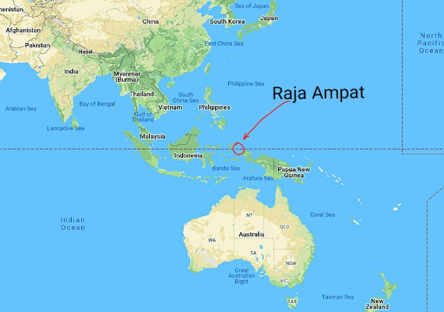 Map location of Raja Ampat islands in the Republic of Indonesia