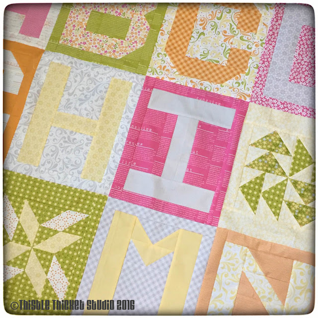 Spell It With Moda, Thistle Thicket Studio, Letter quilt blocks, Sunkissed fabric, quilts, quilting, sewing