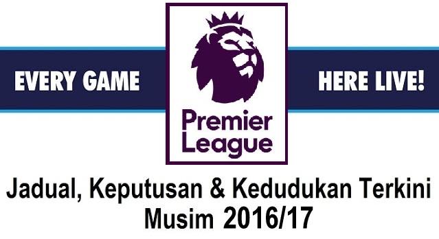 Jadual, Keputusan & Kedudukan Terkini Liga EPL 2016/17