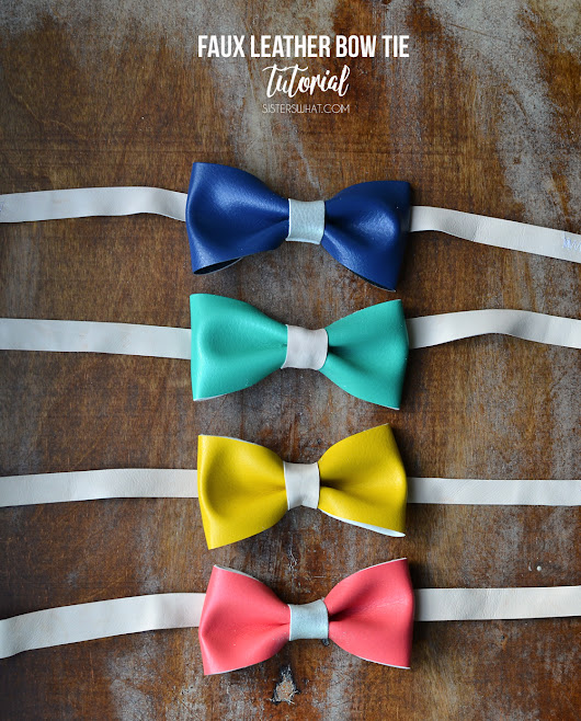 Bright and Colorful Faux Leather Bow tie Tutorial