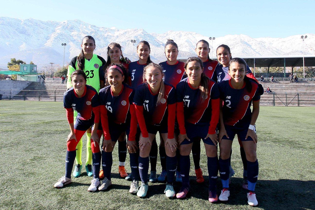 Formación de selección femenina de Costa Rica ante Chile, amistoso disputado el 12 de junio de 2018