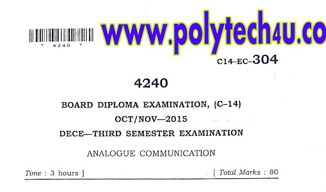 C-14 ECE ANALOGUE COMMUNICATION OLD QUESTION PAPER OCT-NOV-2015