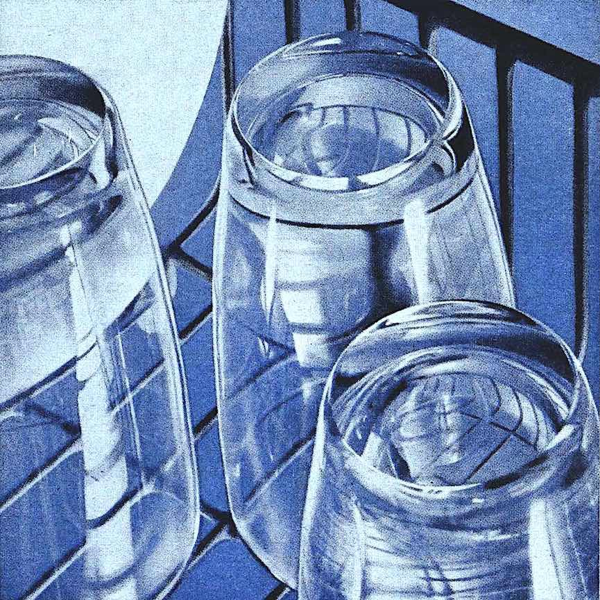a 1960 illustration of washed and inverted drinking glasses