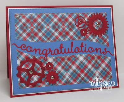 ODBD Custom Congratulations Die, ODBD Custom Steampunk Gears Dies, ODBD Custom Leafy Edged Borders Dies, ODBD Custom Pierced Rectangles Dies, Card Designer Angie Crockett