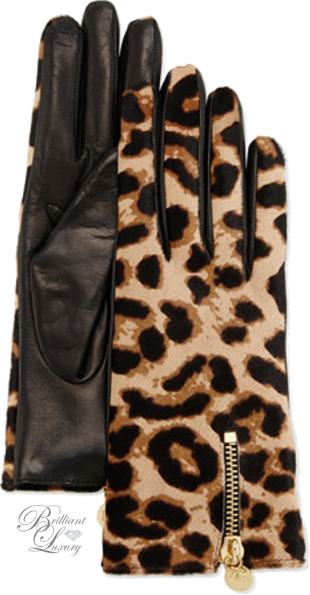 Brilliant Luxury ♦ Diane von Furstenberg Leopard-Print Calf Hair & Leather Gloves