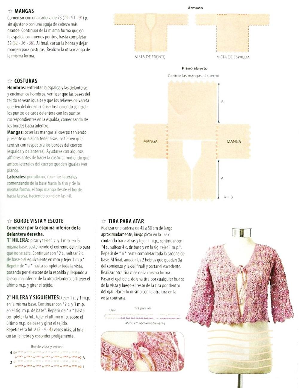 chaquetas, crochet, media manga, ganchillo, patrón