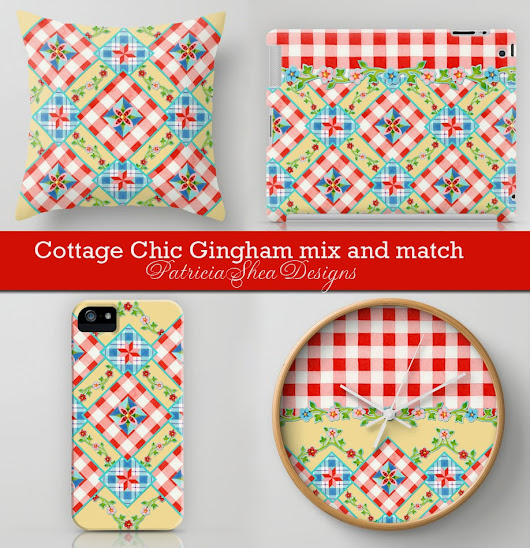 Cottage Chic Gingham and a flurry of activity in my online shops!