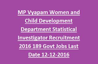MP Vyapam Women and Child Development Department Statistical Investigator Recruitment 2016 189 Govt Jobs Last Date 12-12-2016