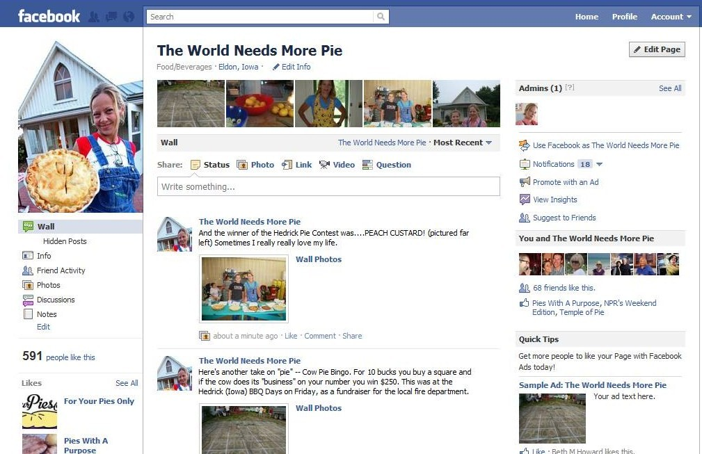 The World Needs More Pie: You can Also Find Me on Facebook