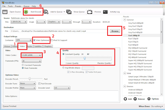 How to use HandBrake software to reduce MP4 video file size without losing quality - Method of encoding
