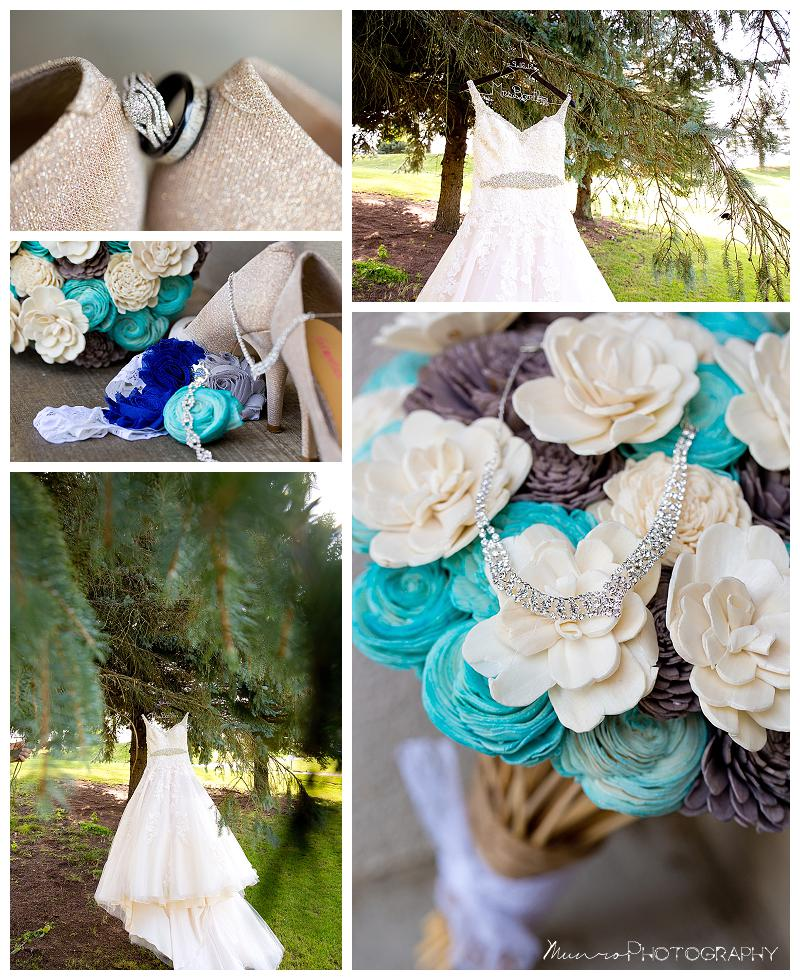 teal, country, eco-flowers, wedding dress, wedding rings