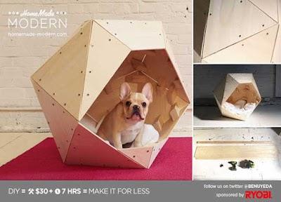 Casa para mascotas con forma geometrica de contrachapado
