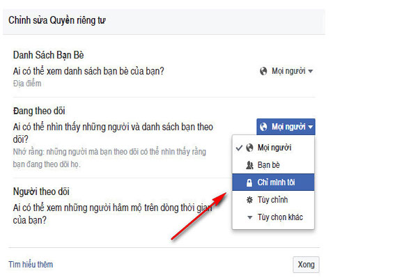 Cach an theo doi nguoi khac cua facebook