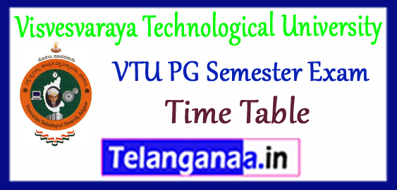 VTU Visvesvaraya Technological University PG Exam Time Table 2017-18 Admit Card