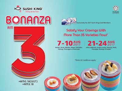 Sushi King Bonanza RM3 Plate Discount Promo August 2017