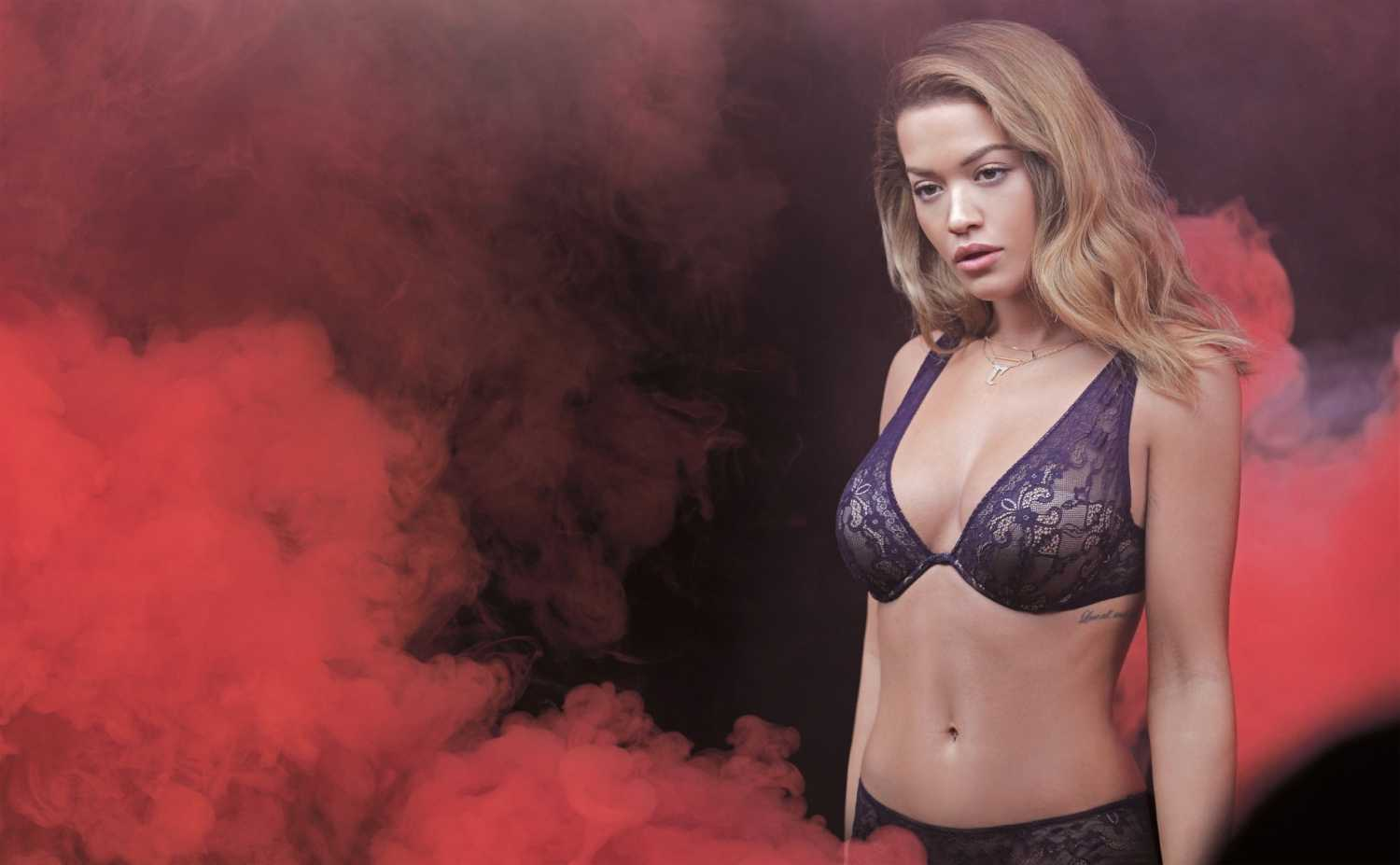 Rita Ora smoulders in lace bras for the Tezenis Campaign