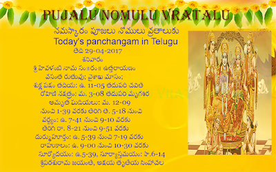 Today's Panchangam in Telugu,Today's Panchangam in English