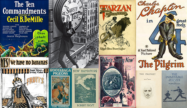 covers for The Ten Commandments, Harold Lloyd hanging off clock, Tarzan, Charles Chaplin in 4 great reels The Pilgrim, Yes we have no bananas, Rootabaga Pigeons, New Hampshire, Who's scary now, The prophet, The inimitable Jeeves