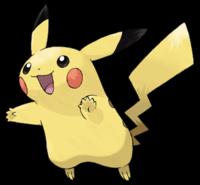 Imagen de Pichaku, Pokemon amarillo, con cola en forma de rayo, punta de orejas negras y mejillas sonrosadas.