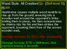 naruto castle defense 6.3 Wood Style All Creation detail