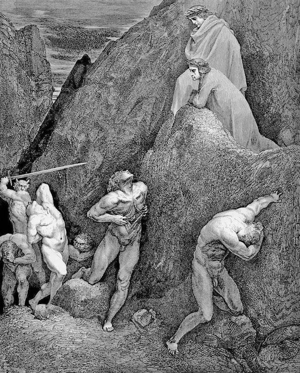Maomé no inferno com as vísceras abertas. Gravura de Gustave Doré (1832 – 1883) para a Divina Commedia de Dante Alighieri.