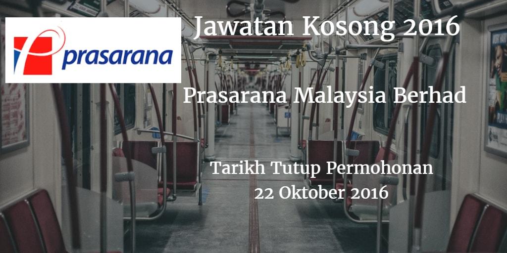 Jawatan Kosong Prasarana Malaysia Berhad 22 Oktober 2016