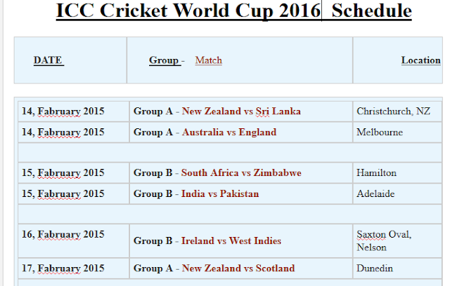 ICC T20 World Cup 2016 Schedule, Fixtures & Time Table Download