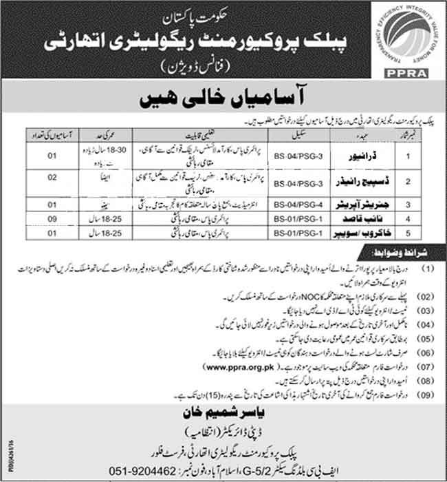 Public Procurement Regulatory Authority Islamabad Jobs