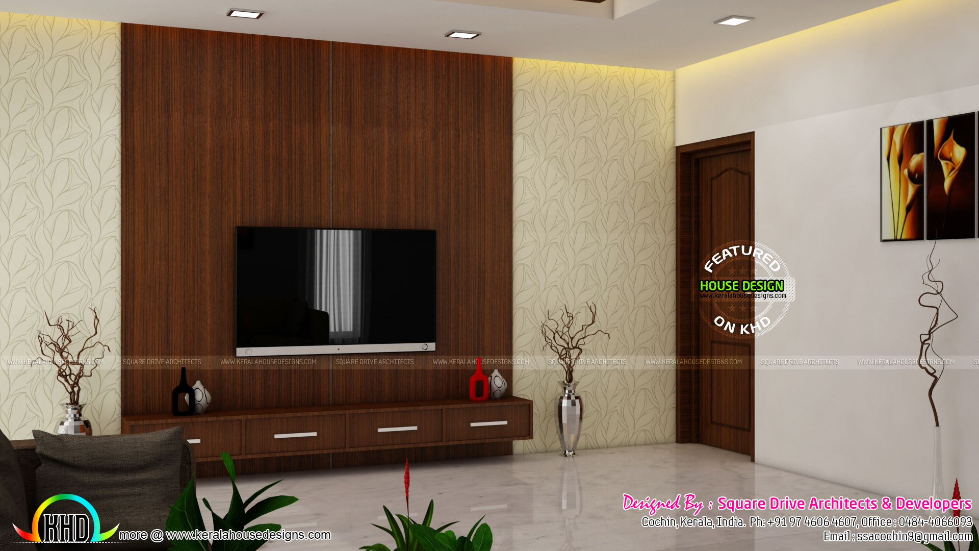 Master bedroom living and wardrobe designs kerala home for Kerala home living room designs